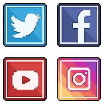 Icônes des médias sociaux et des réseaux sociaux en pixel art style twitter, facebook, youtube et instagram 8 bits