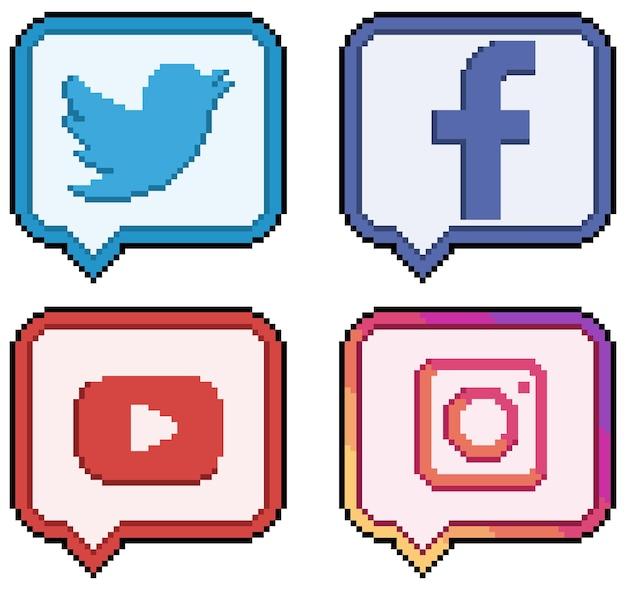 Icônes des médias sociaux et des réseaux sociaux en pixel art
