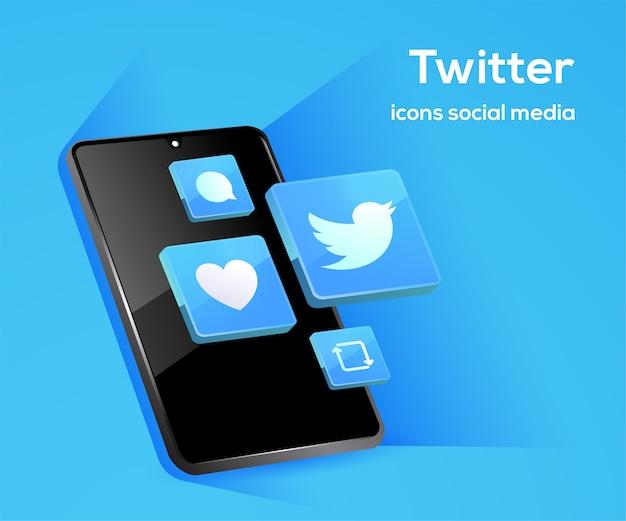 Icônes de médias sociaux twitter avec symbole de smartphone