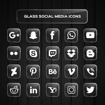 Icônes de médias sociaux verre