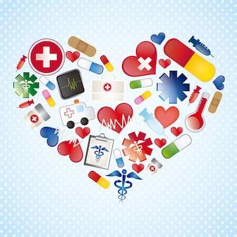 Icônes médicales colorées sur fond bleu