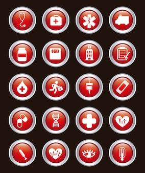 Icônes médicales sur illustration vectorielle fond noir