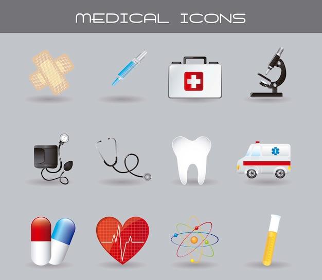 Icônes médicales avec ombre sur illustration vectorielle fond gris