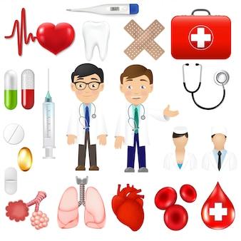 Icônes médicales et outils d'équipements avec des icônes de médecin
