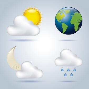 Icônes météo sur fond bleu illustration vectro