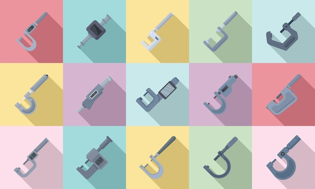 Les icônes de micromètre définissent un vecteur plat. jauge d'ingénierie. micromètre industriel