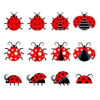Icônes mignonnes de coccinelle. icônes de bugs de style dessin animé