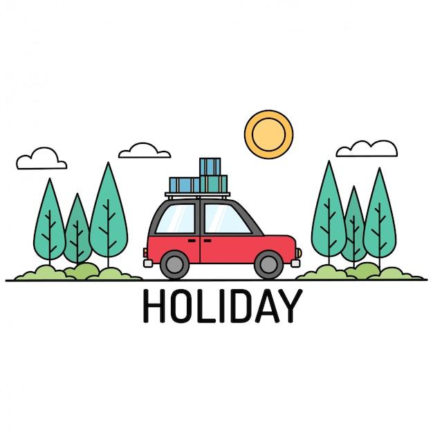 Icônes mignonnes de vacances avec voiture dans l'illustration de la forêt