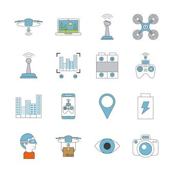 Icônes mis la technologie de drone