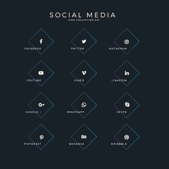 Icônes modernes médias sociaux