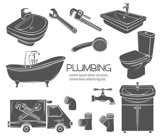 Icônes monochromes de plomberie. douche glyphe, lavabo de salle de bain, toilettes, clé sanitaire et robinet pour la conception de promotion de plomberie domestique. timbre, illustration vectorielle.