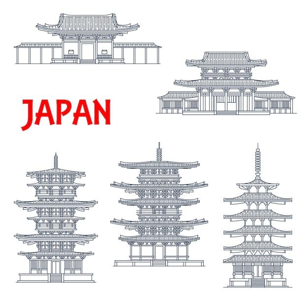 Icônes de monuments du japon, temples et pagodes japonaises