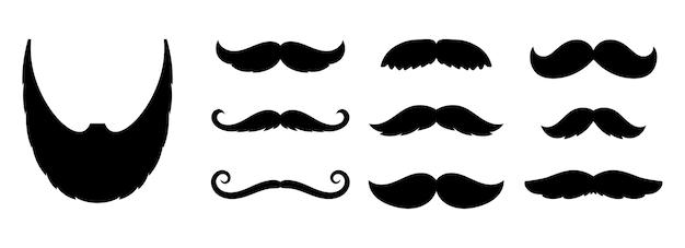 Icônes de moustache. barbe de mode dandy hipster, enseignes de coiffeur.
