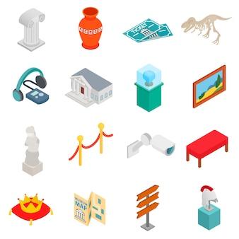 Icônes de musée définies dans un style 3d isométrique sur fond blanc