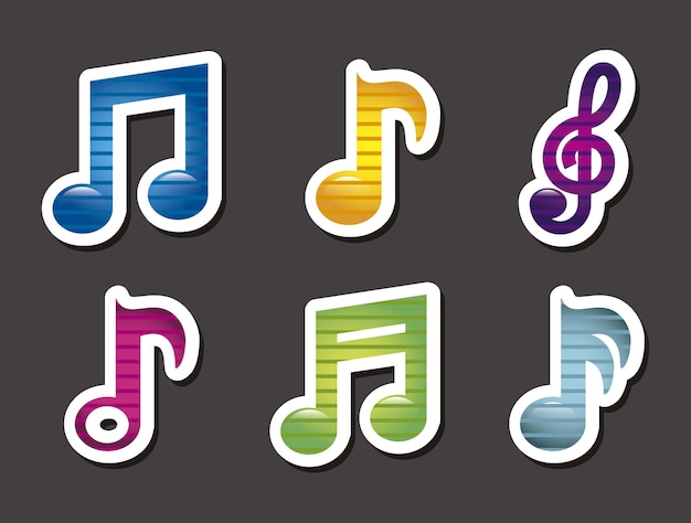 Icônes de la musique au cours de l'illustration vectorielle fond gris