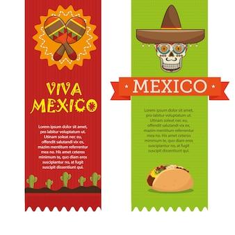 Icônes musique nourriture design mexicain