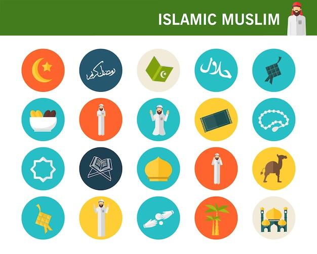 Icônes musulmanes musulmanes consept plat.