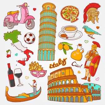 Icônes de nature et de culture italie doodle set vector illustration