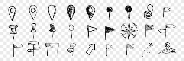 Icônes de navigation logistique dessinés à la main, collection de jeu de doodle. marques dessinées à la main, pointeurs, boussoles, drapeaux. croquis de différents symboles de direction. carte et navigation routière