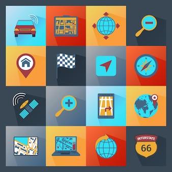 Icônes de navigation à plat
