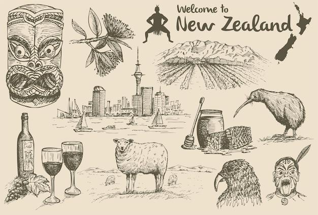 Icônes néo-zélandaises dessinées à la main