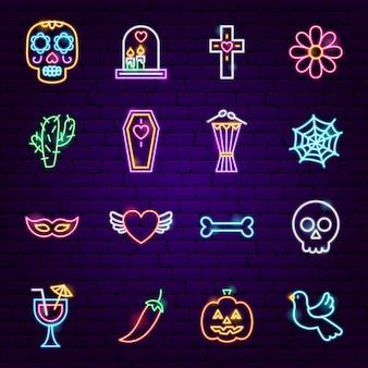 Icônes néon dia de los muertos. illustration vectorielle des symboles de vacances.