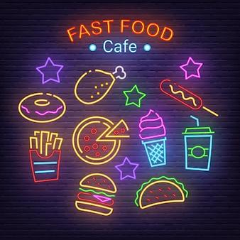 Icônes de néon de fast-food