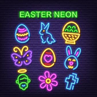 Icônes de néon de pâques