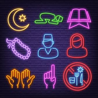 Icônes de néon ramadan karéem
