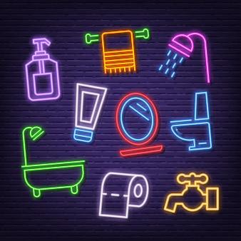Icônes de néon de salle de bain