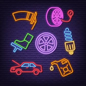 Icônes de néon de service de voiture