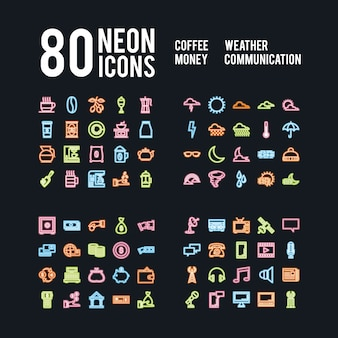 Icônes de néons divers de boissons météo affaires et communications, pack de vecteur