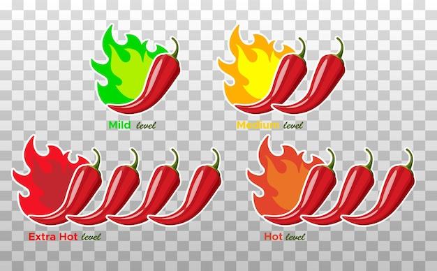 Icônes avec des niveaux d'épices de piment. signe de piment avec flamme de feu pour emballer des aliments épicés.