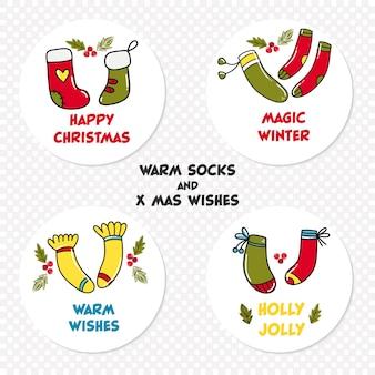 Icônes de noël avec des chaussettes chaudes et des souhaits différents.