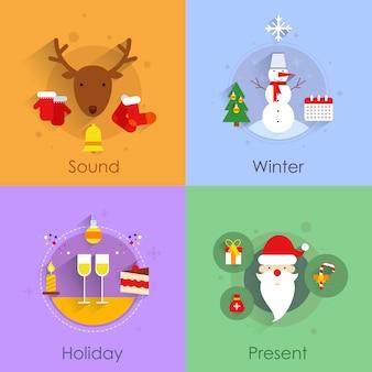 Icônes de noël plats sertis de vacances son hiver présent isolé illustration vectorielle