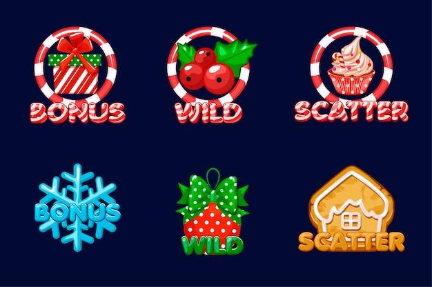 Icônes de noël pour les machines à sous. bonus, scatter et texte sauvage. définir les icônes du nouvel an sur un calque séparé. jeu d'actifs 2d