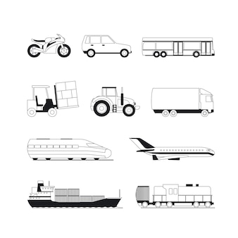 Icônes noires de transport contour