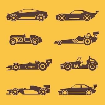 Icônes noires de voiture de course de sport. ensemble d'illustration de silhouette automobile