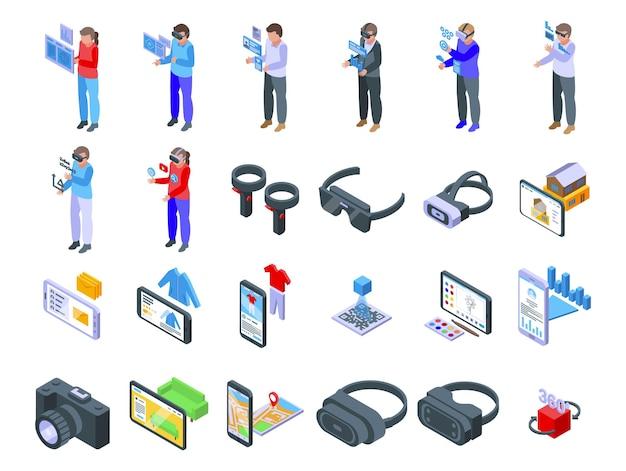 Les icônes de nom définissent le vecteur isométrique. cube virtuel