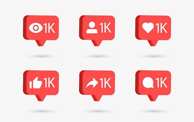 Icônes de notification de médias sociaux dans des bulles de discours 3d comme le commentaire d'amour partager le suiveur vu