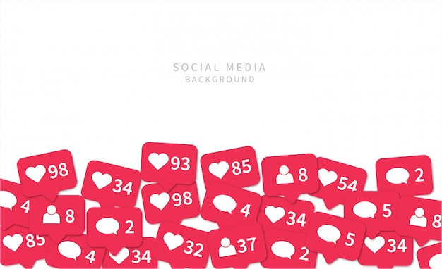 Icônes de notifications de médias sociaux. fond de médias sociaux.