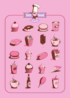 Icônes de nourriture et de boisson définies dans un style rétro. illustration vectorielle