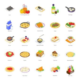 Icônes de nourriture de boulangerie
