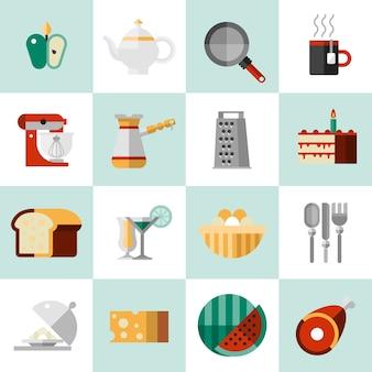 Icônes de nourriture de cuisson