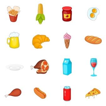 Icônes de nourriture définies dans un style bande dessinée