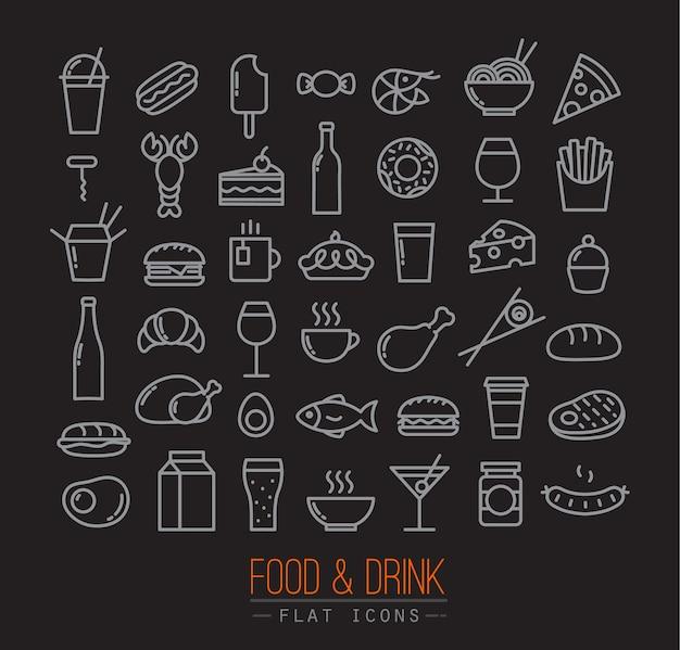 Icônes de nourriture plate noir
