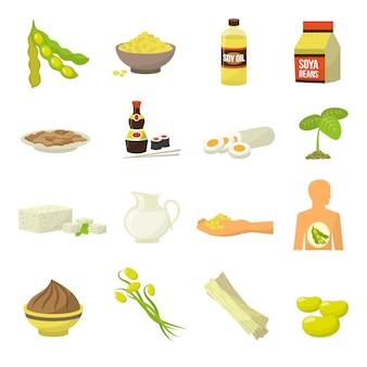 Icônes de nourriture de soja