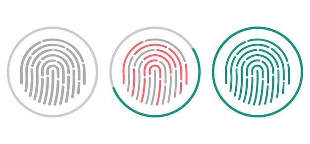 Icônes de numérisation d'empreintes digitales