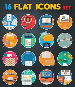 Icônes d'objets commerciaux, de bureau et de marketing