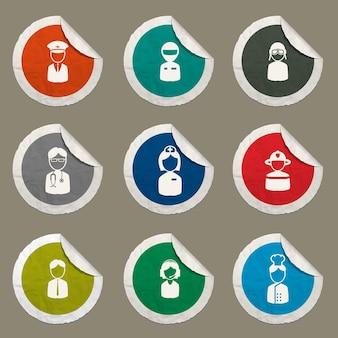 Icônes d'occupation définies pour les sites web et l'interface utilisateur